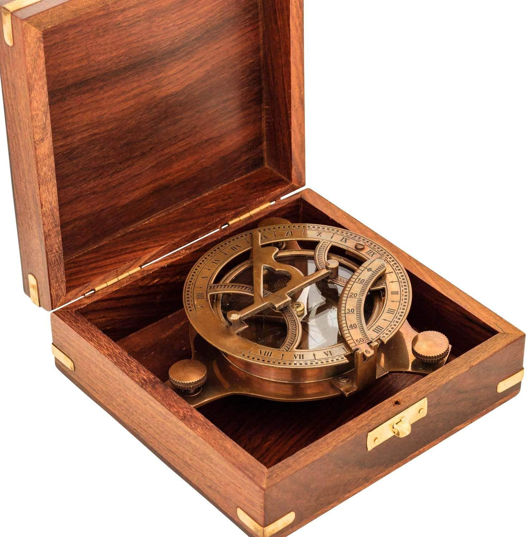 Reloj de sol antiguo de brújula réplica de latón macizo con bolsillo de reloj de sol West London con caja de madera