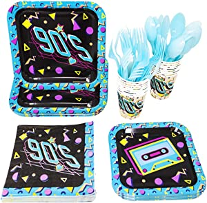 90s Party Supplies (113+ Pieces for 16 Guests), Neon Retro Party Plates, 1990s Birthday Decorations, Napkins, Cups, Forks, Spoons, Party Tableware