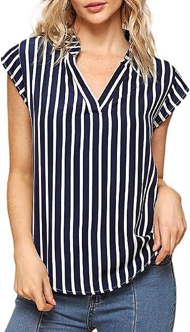 Camisa Estampada Mujer, Blusa de Cuello en V con Estampado de Rayas Casual para Mujer de la Moda Tops: Amazon.es: Ropa y accesorios