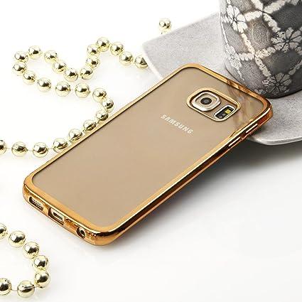 Beste4Handys Carcasa para Samsung Galaxy S6 Edge+ G928, Silicona TPU, Color Dorado, Trasera, Transparente, con Borde de Colores