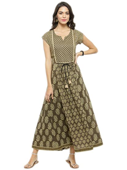5bac6eaafd Varanga multi Printed Dress KFF-VAR1181107 DR  Amazon.in  Clothing ...