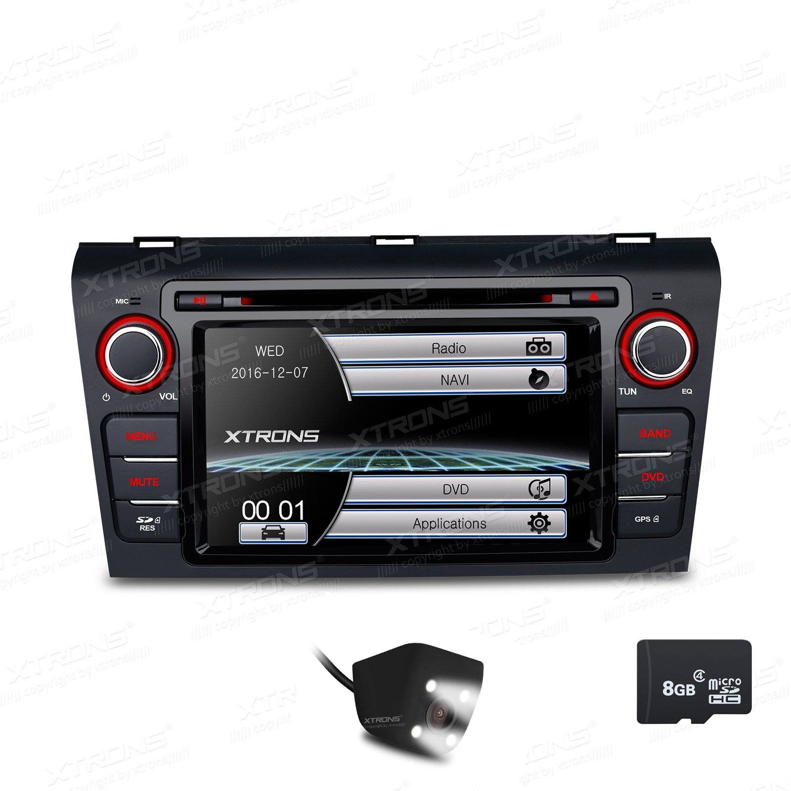 XTRONS 7 Inch HD Digital Touch Screen Car Stereo Radio In-Dash DVD Player with GPS Navigation CANbus Screen Mirroring Function for Mazda 3 Reversing Camera&Map Card Included