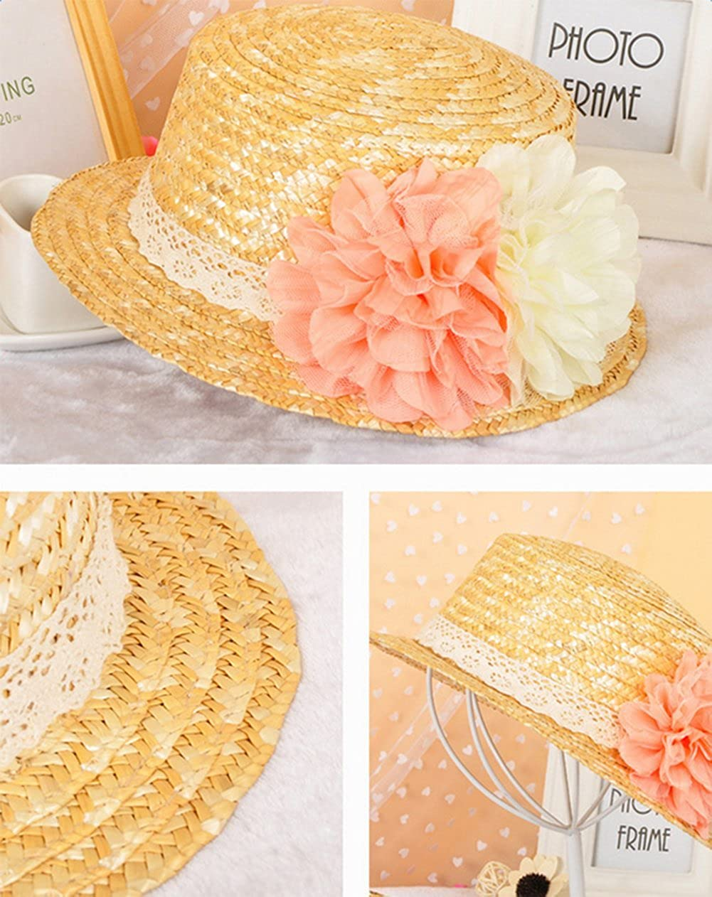 ace86f5fdc6 Cupcinu Straw Hats Summer Sun Beach Hats Flower Lace Wide Brim Wreath  Decoration Foldable Packable Cap Hats Sun Visor Anti-UV for Women Girls  Ladies  ...