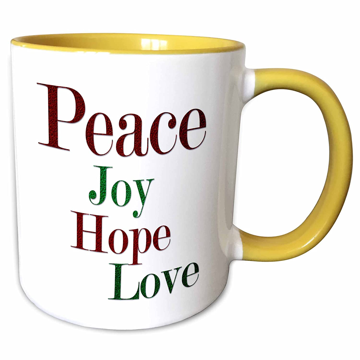 Buy 3drose Anne Marie Baugh Christmas Peace Joy Hope Love Words In Red And Green Glitter Effect 15oz Two Tone Yellow Mug Mug 217194 13 Online At Low Prices In India Amazon In