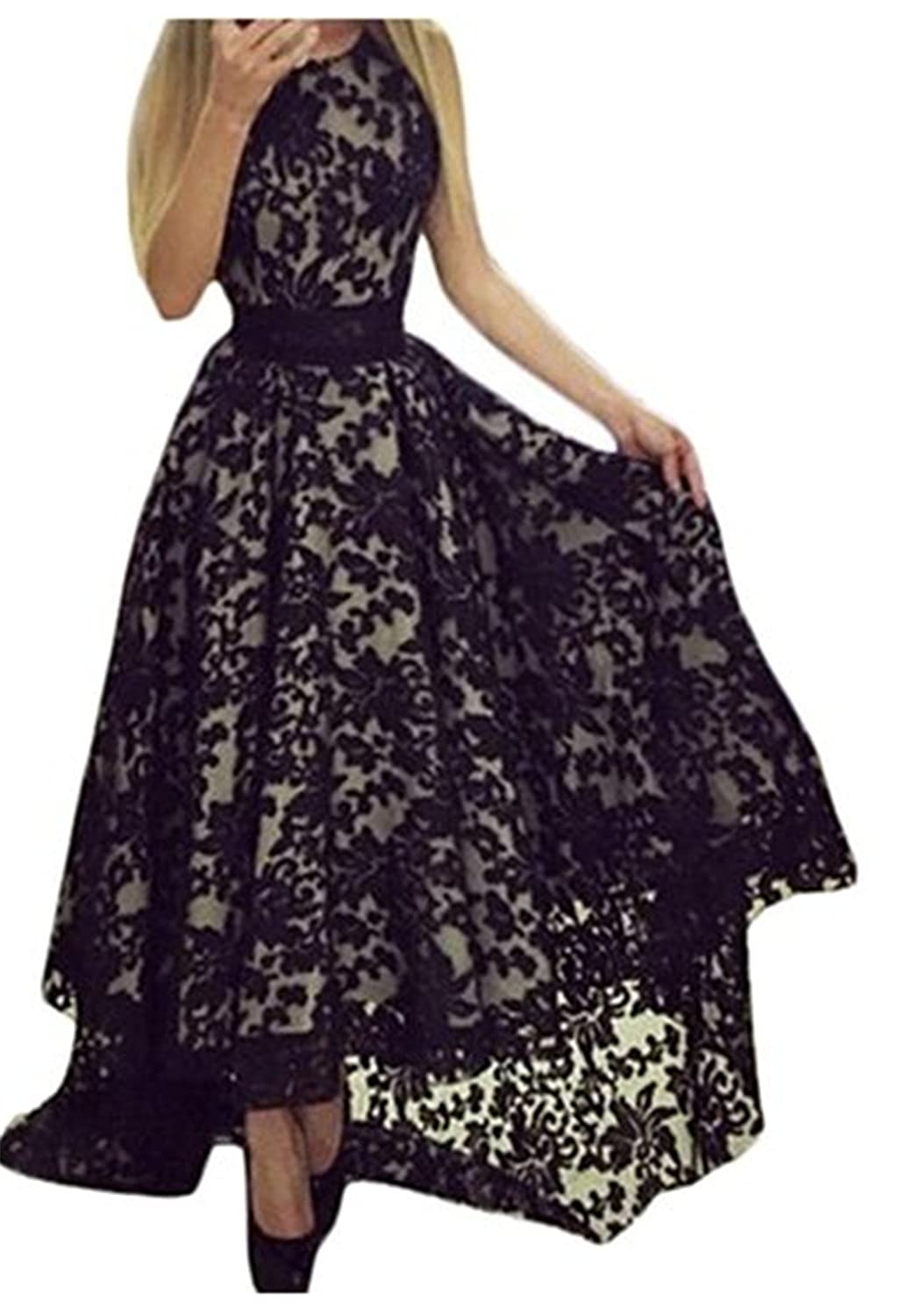 YingLuo Appliques Beaded One-Shoulder Gowns Chiffon Long Evening Dress Custom Made Size Black