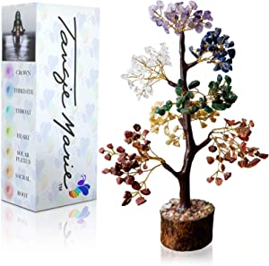 Tangie Marie Premium Meditation Decor Spiritual Decor Seven Chakra Tree Therapy Meditate Crystal Gemstone Bonsai Tree for Good Luck, Wealth & Prosperity Reiki Life Money Feng Shui