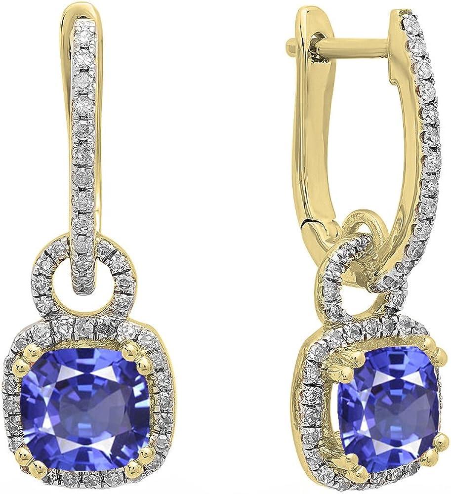 Pendientes colgantes de oro amarillo de 14 quilates de 6 mm cada cojín con piedras preciosas y diamantes blancos redondos