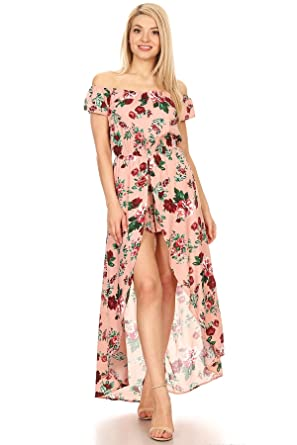 bfced20c6ed Ambiance Apparel Floral Print Off Shoulder A-Line Dress at Amazon ...