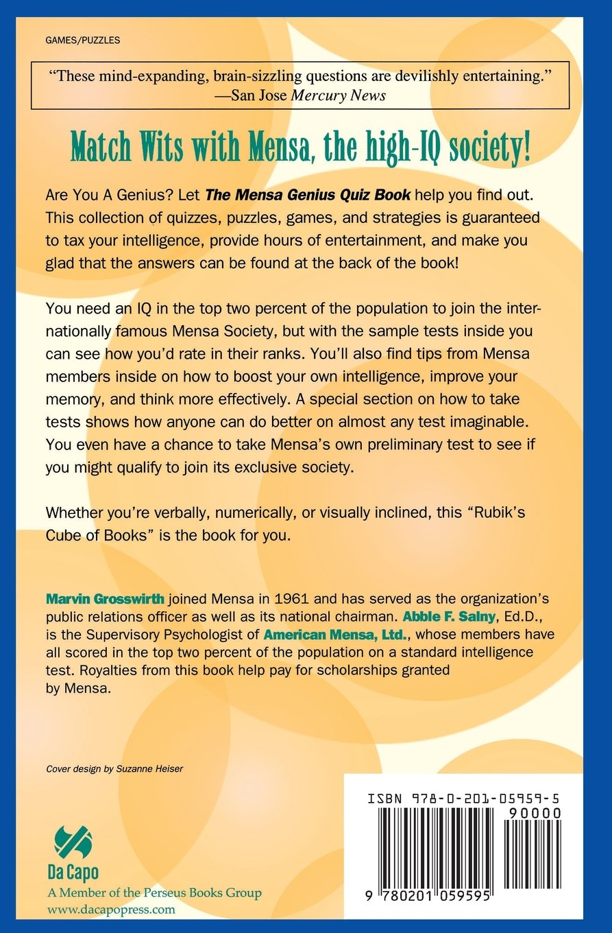 The Mensa Genius Quiz Book (Match Wits with Mensa): Marvin