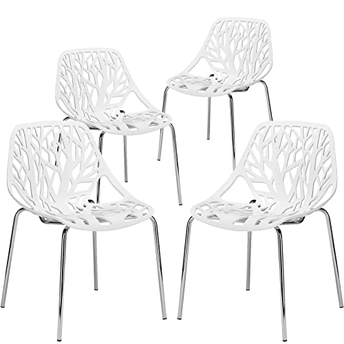 Poly and Bark Modern Mid-Century Birds Nest Dining Side Chair in White with Chrome Legs Set of 4