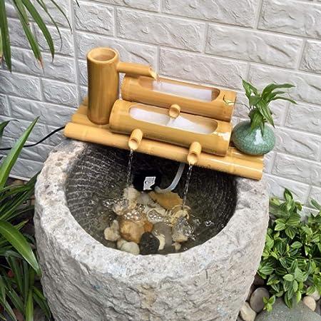 QXTT Fuente De Bambu Exterior Jardín Japonés Al Aire Libre Decoración Moderna 100% Esculturas Hechas A Mano Estatuas Artes Artesanías Regalos De Boda,50cm: Amazon.es: Hogar