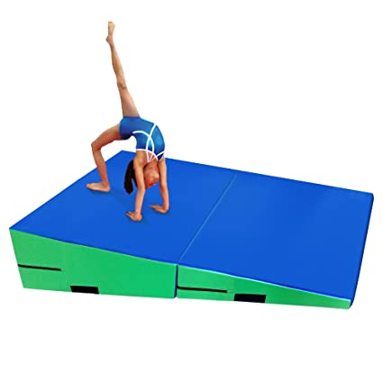 gymmatsdirect Folding Gymnastics Incline Mat Large Cheese Wedge Ramp Skill Shape Triangle Tumbling Mats 60