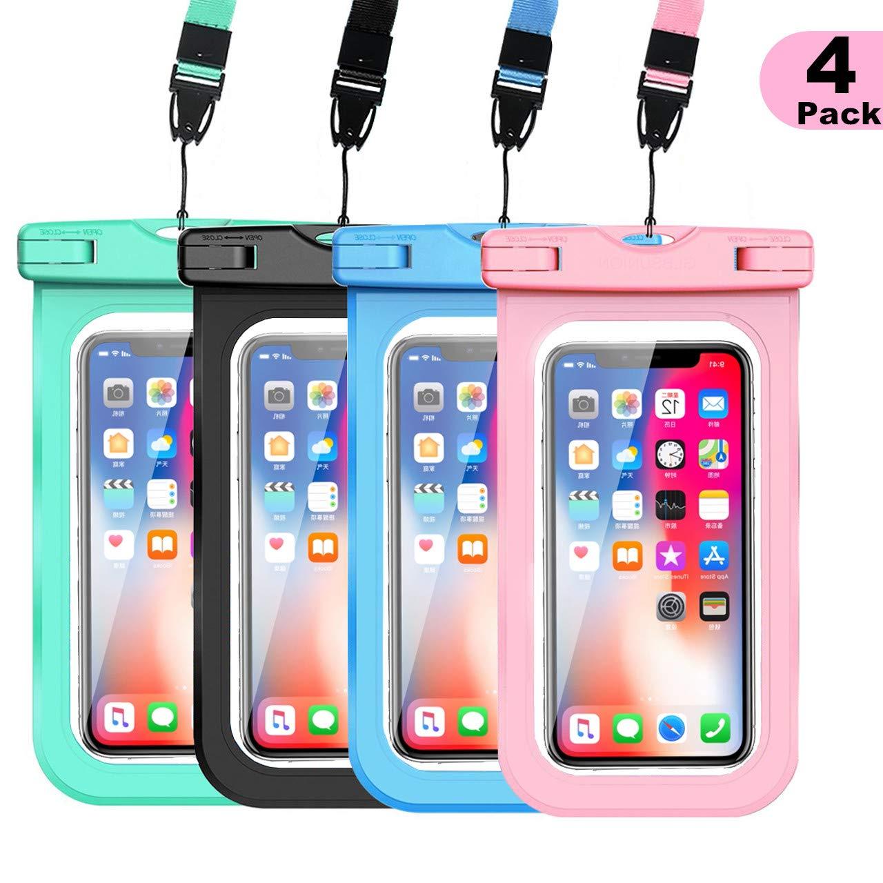 WJZXTEK Universal Waterproof Case,IPX8 Waterproof Phone Pouch Underwater Dry Bag,Compatible iPhone Xs Max/Xr/X/8/8plus/7/7plus Galaxy s9/s8 Note 9/8 Google Pixel up to 6.5''(Black+Pink+Blue+Black)