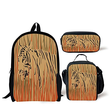 05fd097b3d1 Image Unavailable. Image not available for. Color: School Lunch Pen Bags, Wildlife Decor,Tiger in the Bushes Camouflage Carnivore Predator Feline