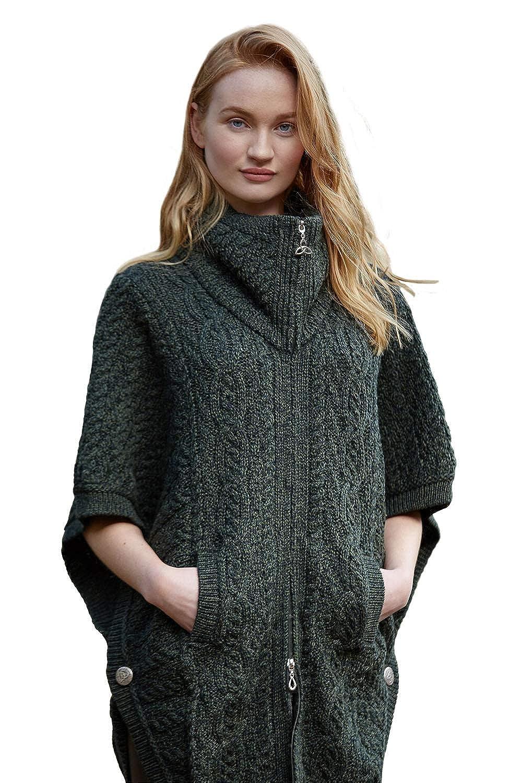 100/% Irish Merino Wool Batwing Aran Knit Jacket