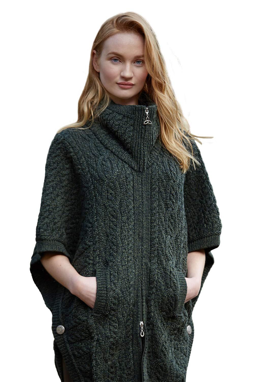 100% Irish Merino Wool Batwing Aran Knit Jacket Army Green, S/M