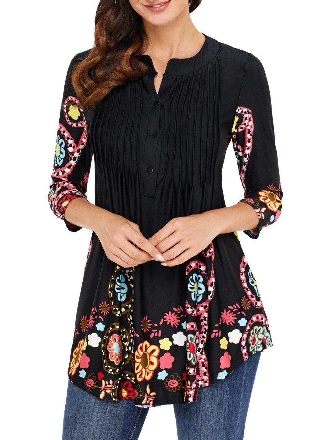 Aincrso Women Floral Tunic with 3/4 Sleeves - Long Casual Floral Shirt Blouse with Round Neck -Buttons up Top Shirt,Black,Medium