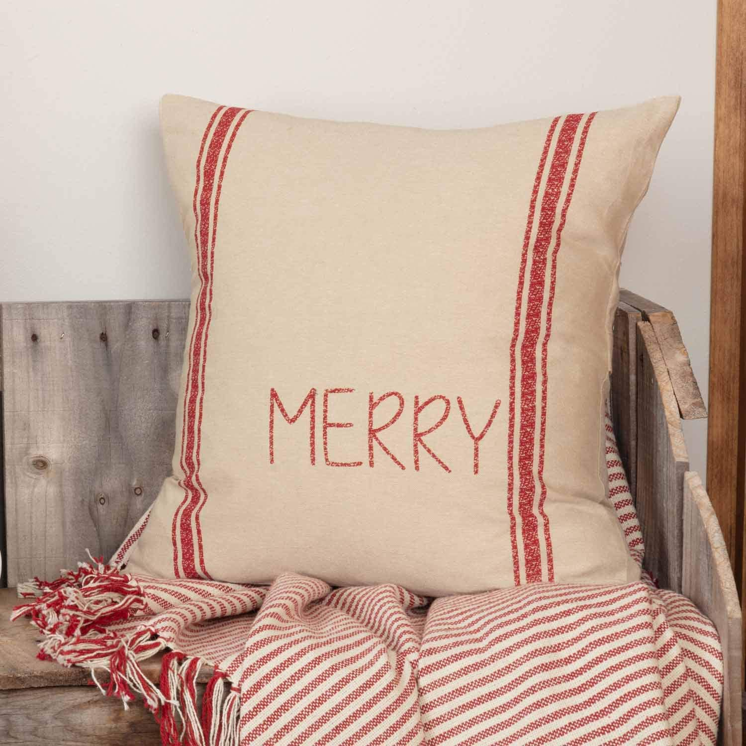 """Piper Classics Merry Printed Grain Sack Pillow Cover, 18"""" x 18"""", Farmhouse Style Décor, Christmas or Holiday Decor, Red on Beige Word Pillow"""