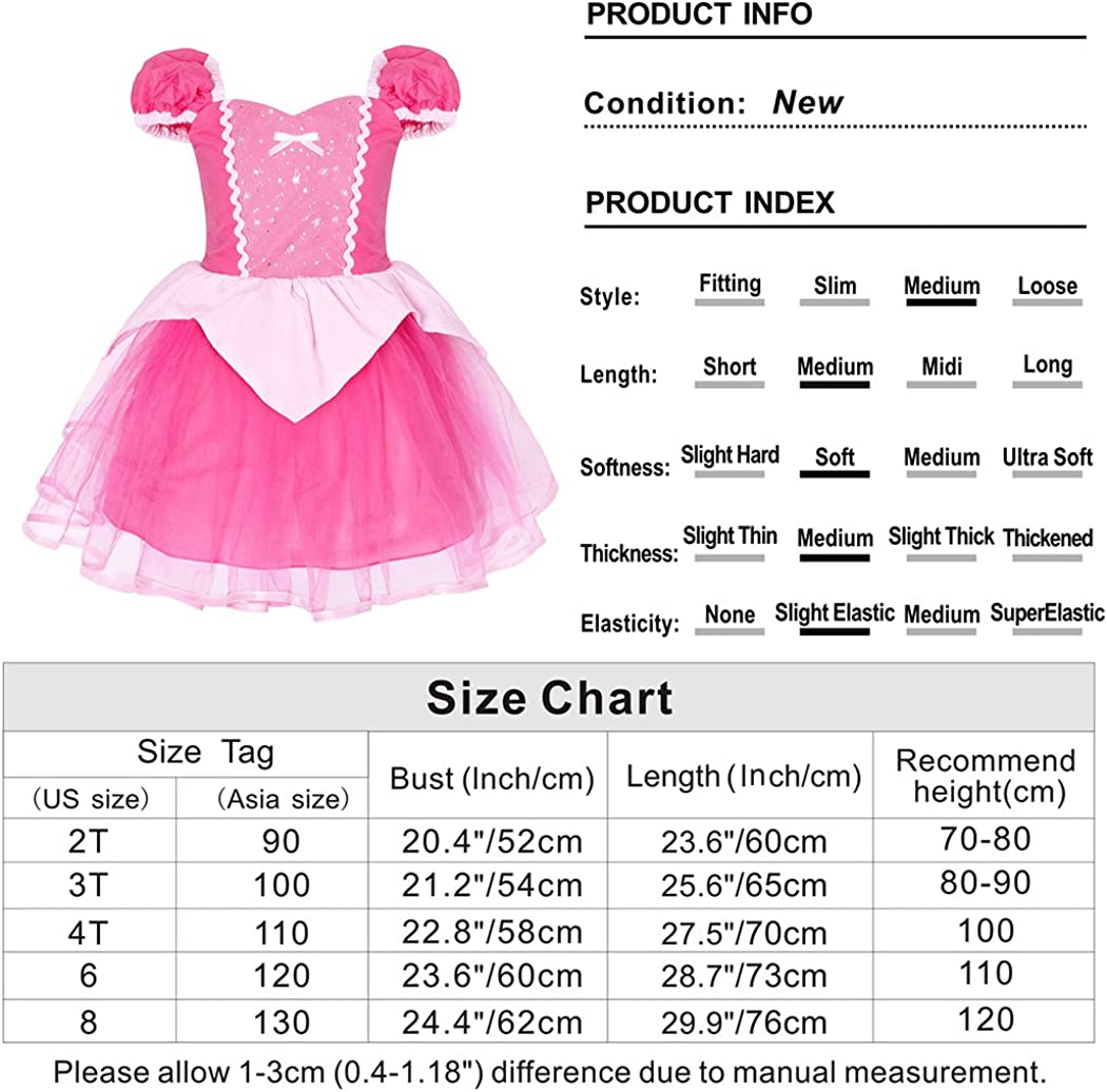 AmzBarley Girls Dress Princess Aurora Costume Party Fancy Dress Up Cosplay