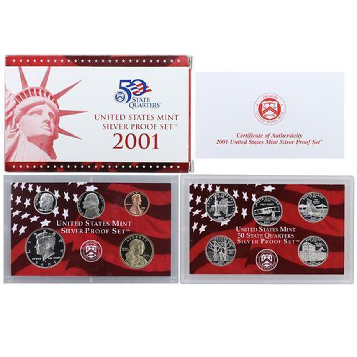 Free shipping! 2001 5-piece SILVER STATE QUARTER Proof Set