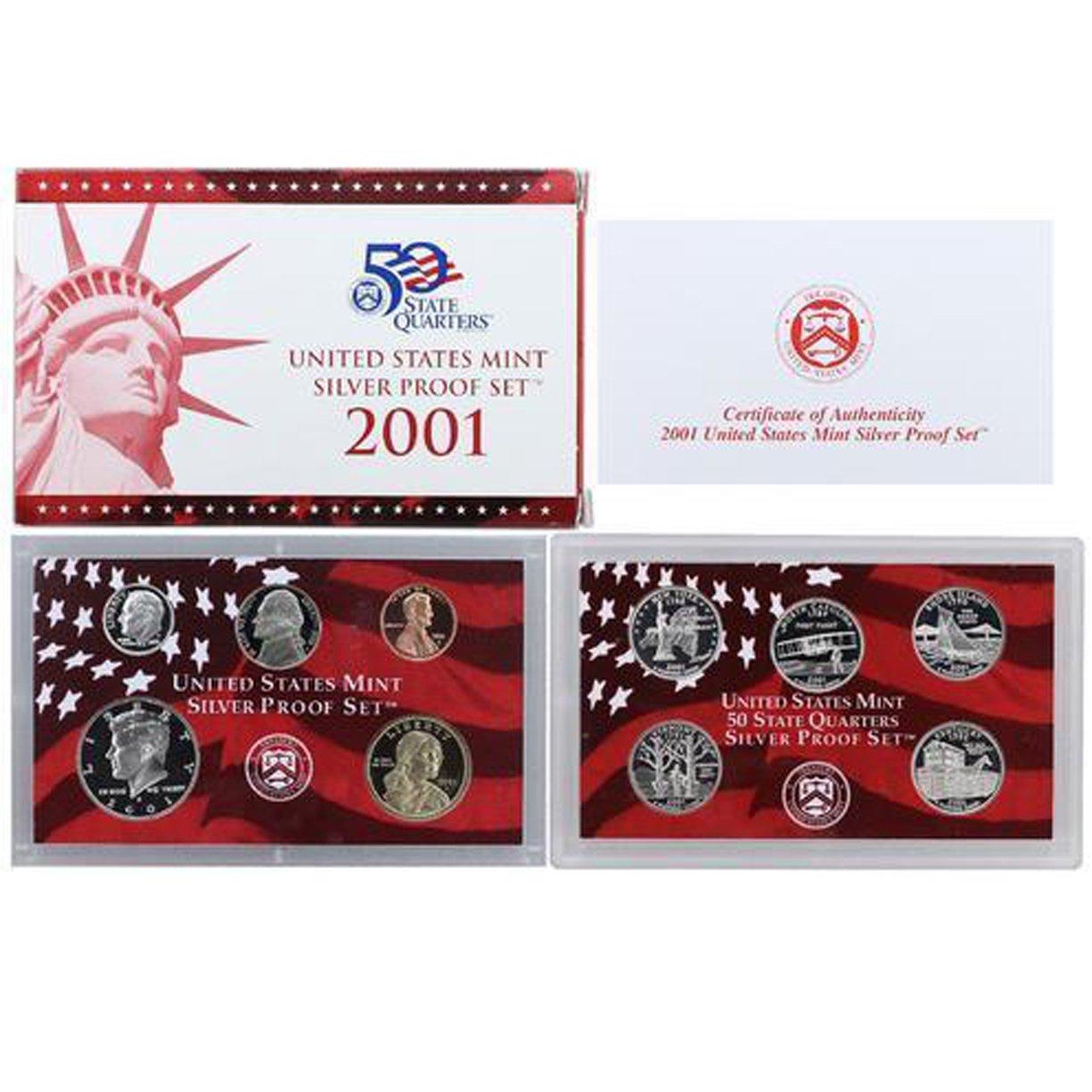 2001  U.S Mint Made STATE QUARTERS Proof Set in original BLUE box
