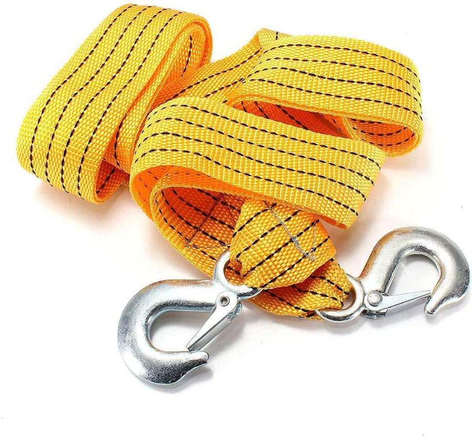 Wangyihan 300cm Yellow car NylonTow Rope durableStraps with forging Iron Hook