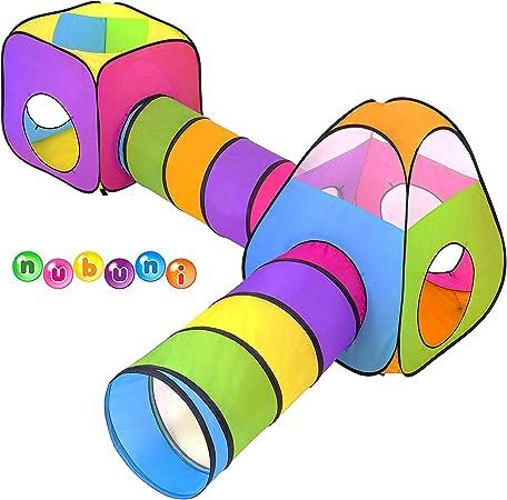 NUBUNI 4 en 1 Tienda Campaña Infantil : 2 Casitas Tela + 2 Tunel de Juego para niños : Plegable Parque Bebe Bolas Infantil Jardín Exterior Interior Juguetes Niño Niñas Bebes Casitas
