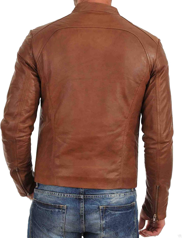 brandMe Mens Genuine Leather Pure Lambskin Biker Jacket MM007