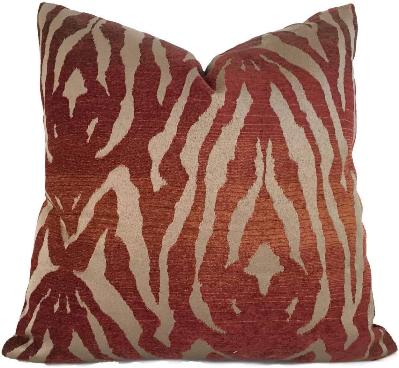 8Jo6Poe Bronze Brown Rust Tribal Tiger Animal Stripe Pillow Cover Fits 18x18 Cushion Lumbar Vintage Indigo Mud Cloth Best Present for Mother's Day Parents Housewarming Modern Sofa Bedding Decor