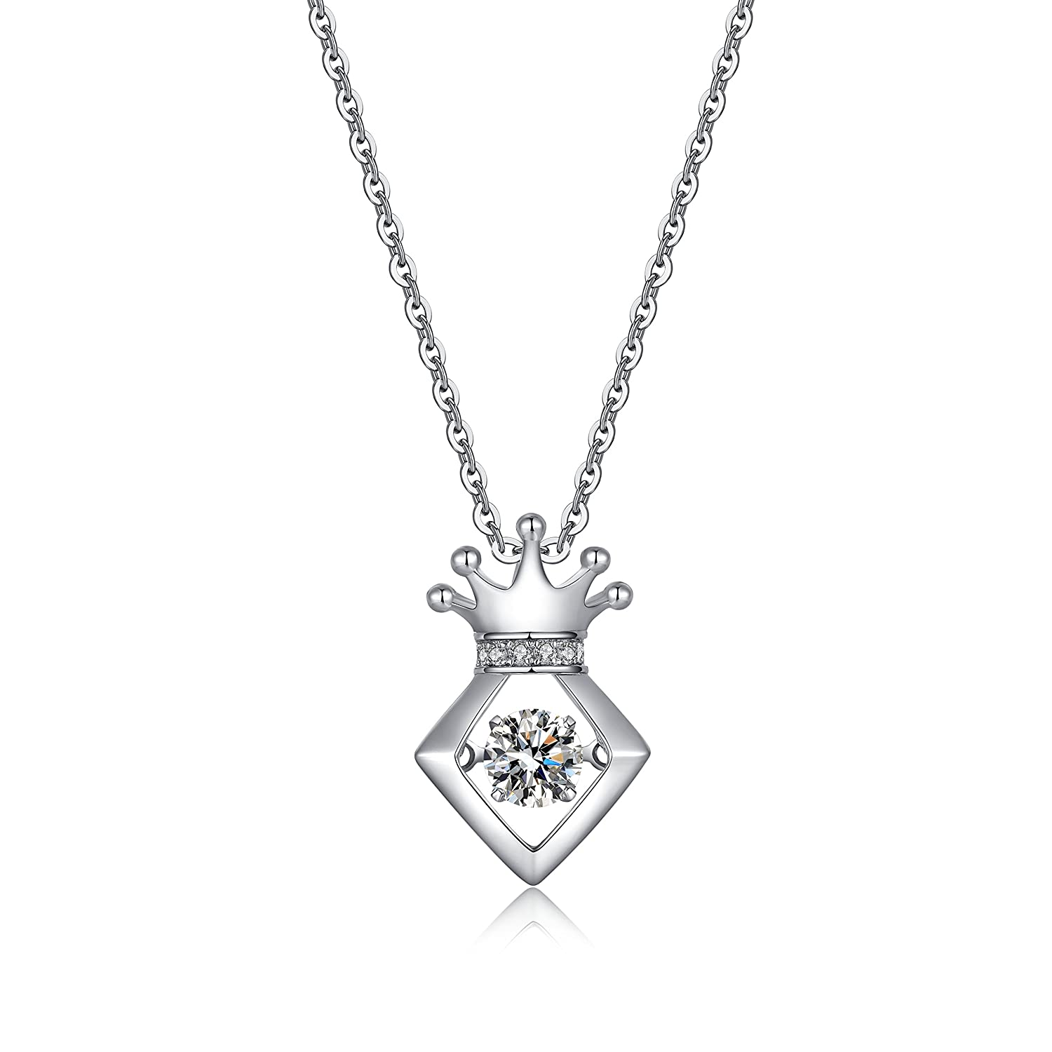2017 925 sterling silve Pendant&Necklace with Dancing Diamond for Women Best Gift