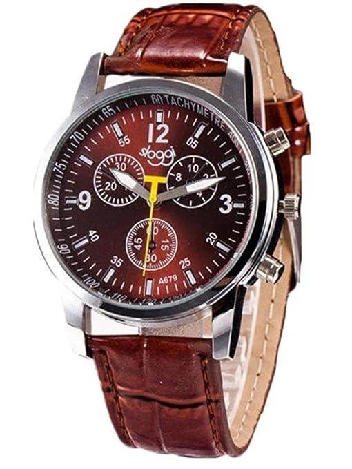 9fd3fd5ca23d 2017 hombre Relojes de pulsera de reloj de moda de moda de lujo de cocodrilo  Faux cuero para 68 Movimiento (Azul)  Amazon.es  Deportes y aire libre