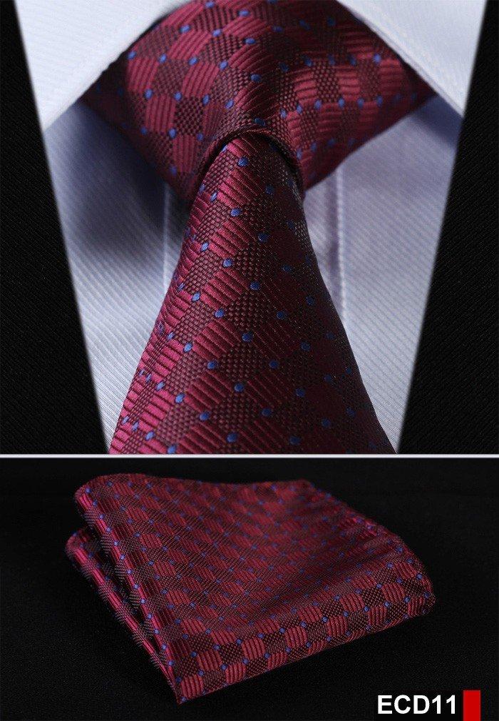 Men Tie Necktie Pocket Square Handkerchief Set Suit ECD11