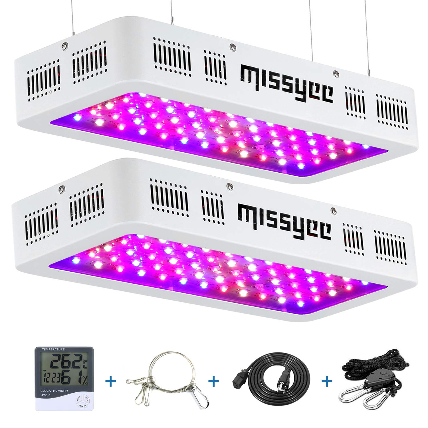 600W LED Grow Light, Missyee 2-Pack Full Spectrum with UV&IR, Veg and Bloom Double Switch Plant Light for Indoor Plants Veg Flowers, Thermometer Humidity Monitor and Adjustable Rope Included, White