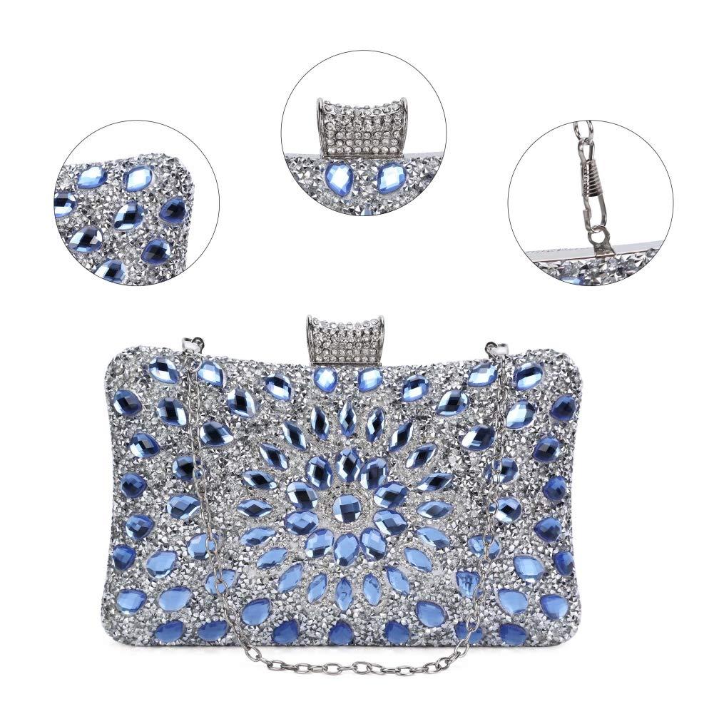 Bolsos de Diamantes de imitaci/ón-Azul Bolso de Noche Lujo Bolso de Hombro Mujer Glitter Diamond Hard Shell Clutches para Boda,Fiesta,Baile
