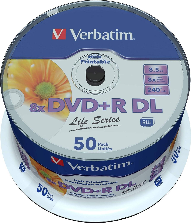 Verbatim DVD Doble Capa DVD+R DL 8.5 GB / 240 min 8x, Full printable White No ID, 50 piezas en caja: Amazon.es: Informática
