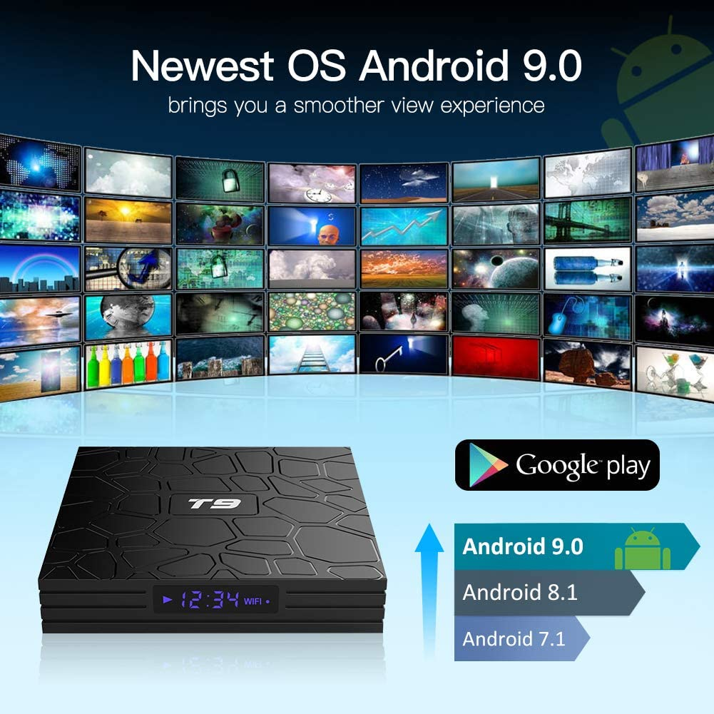 T9 Android 9.0 TV Box 4 GB RAM//32 GB ROM RK3318 Quad-Core supporto 2.4//5 GHz WiFi BT4.0 4K 3D HDMI DLNA Smart TV Box Android TV Box