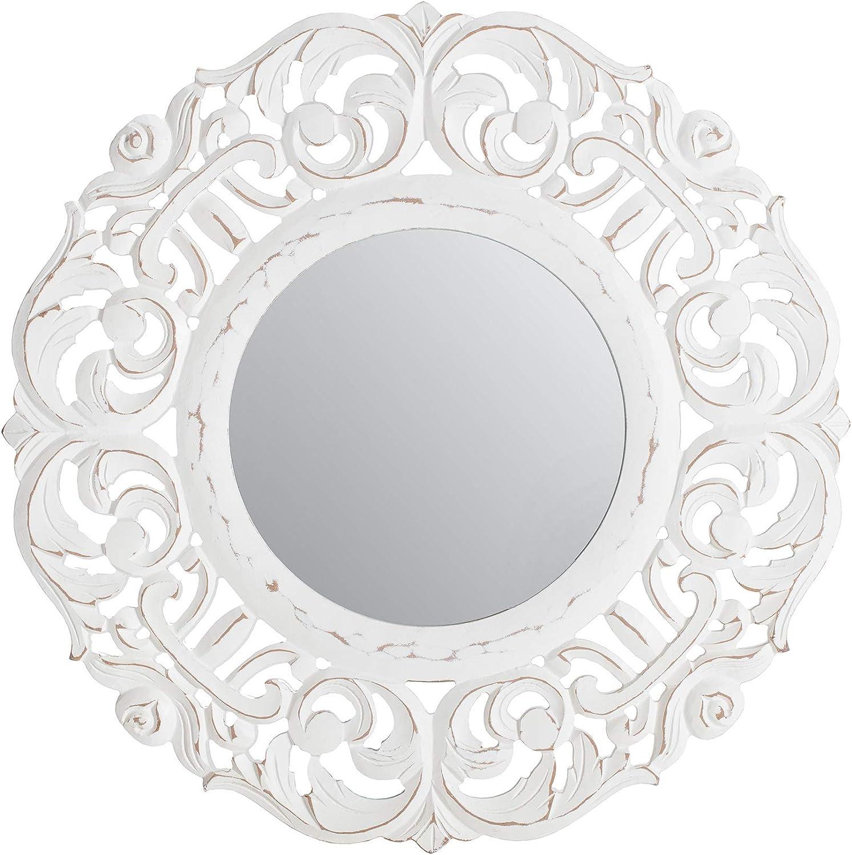 Fetco Temora Decorative Mirror, Distressed White