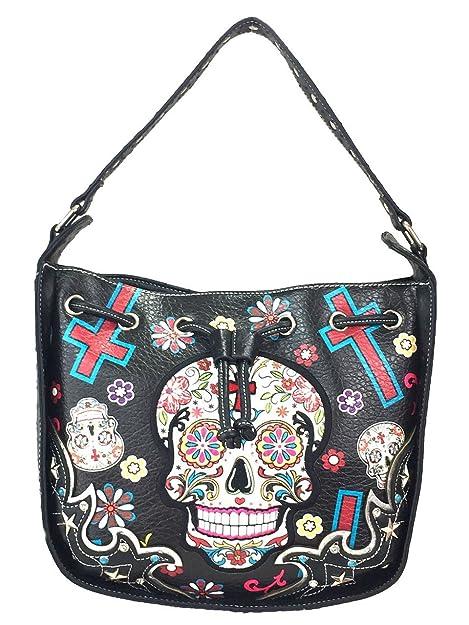 35ea6491502f Cowgirl Trendy Sugar Skull Purse Studded Skull Cross Body Bucket Bag ...