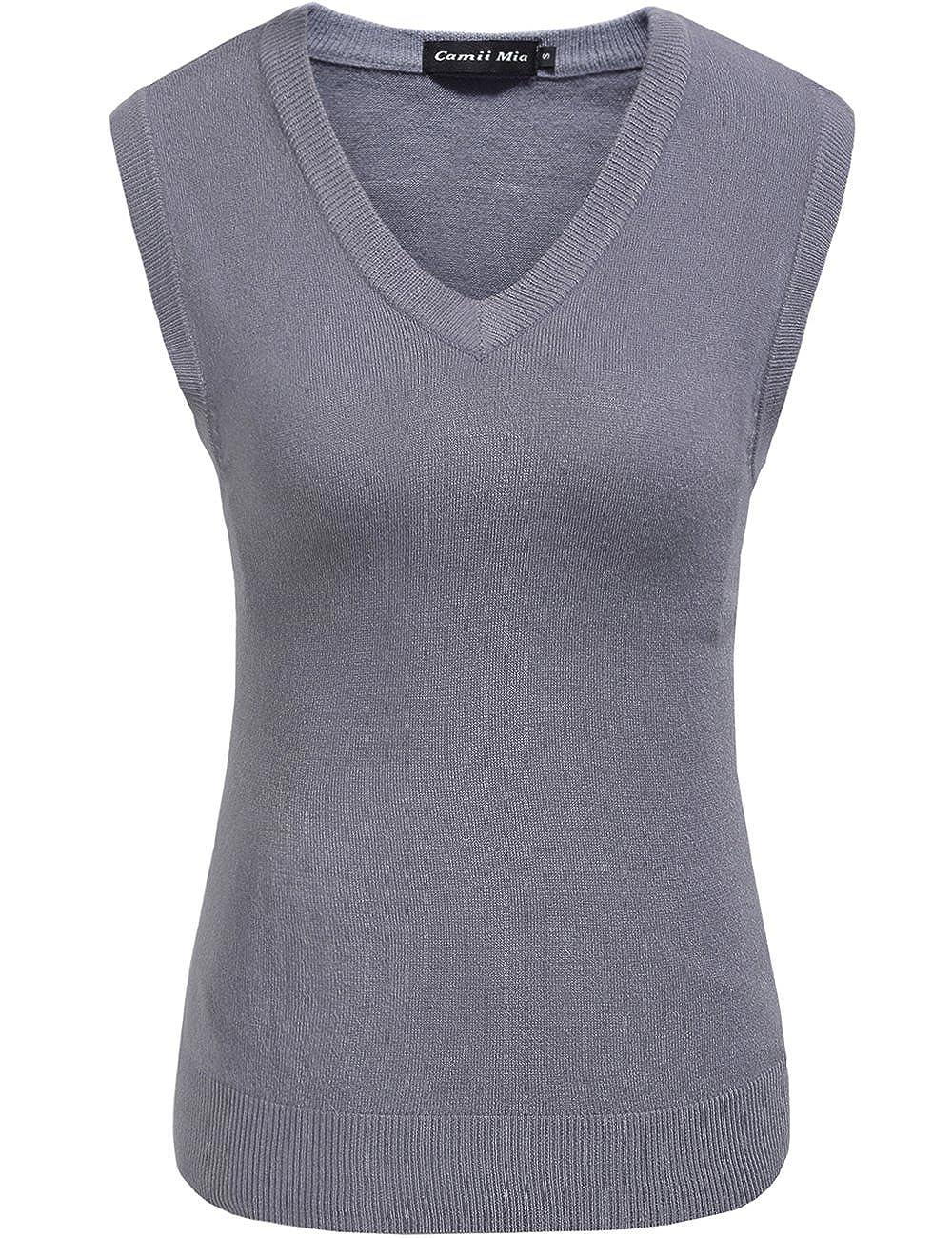 Camii Mia Women's V-Neck Sweater Vest Knitwear Pullover Tank Tops