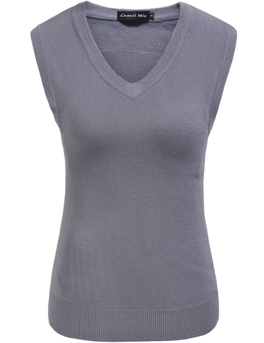 Camii Mia Women's Solid Knit Classic V Neck Sleeveless Pullover Sweater Vest (Large, Grey)