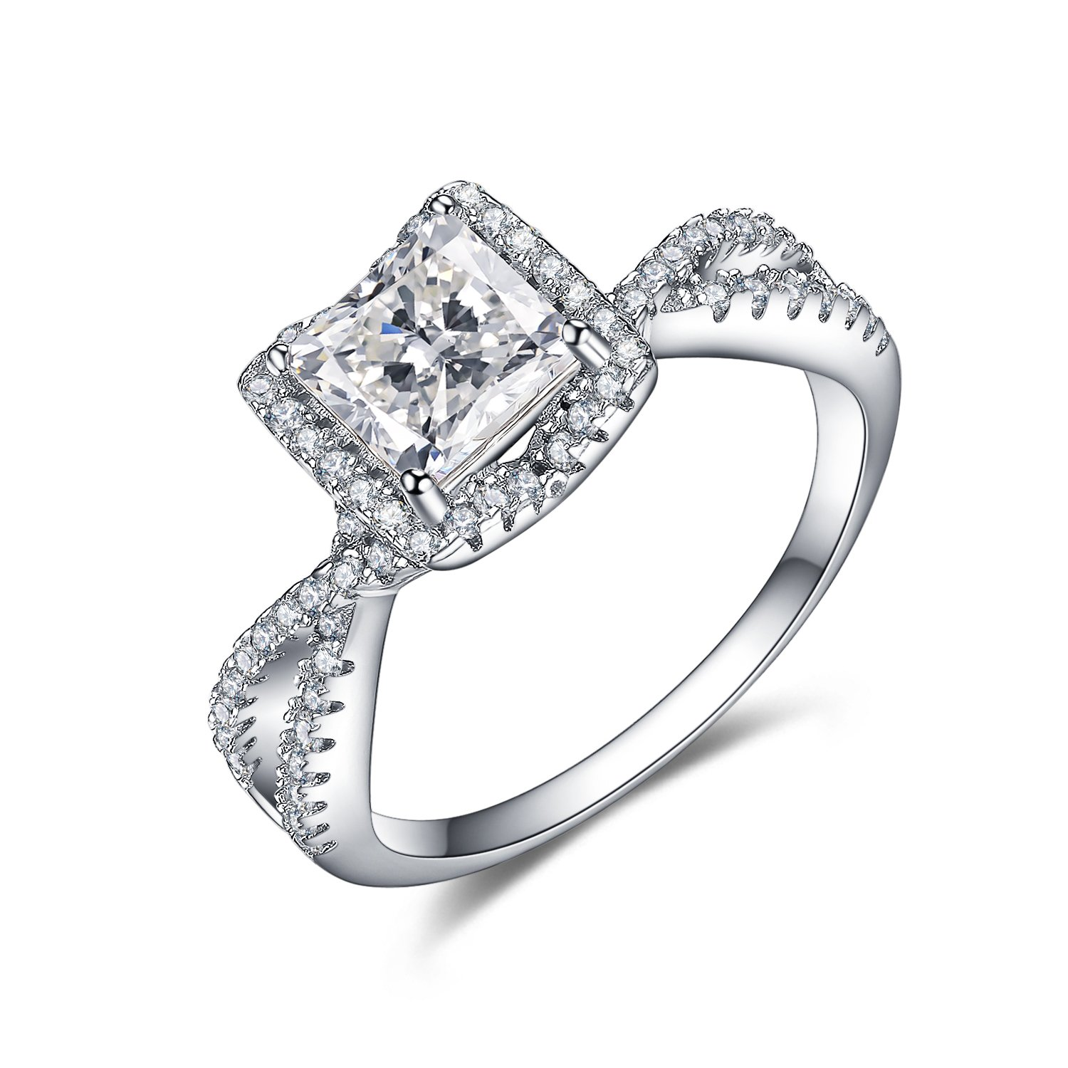 UMODE Vintage Silver 1.25ct Princess Cut Cubic Zirconia Engagement Wedding Ring (8) by UMODE (Image #1)