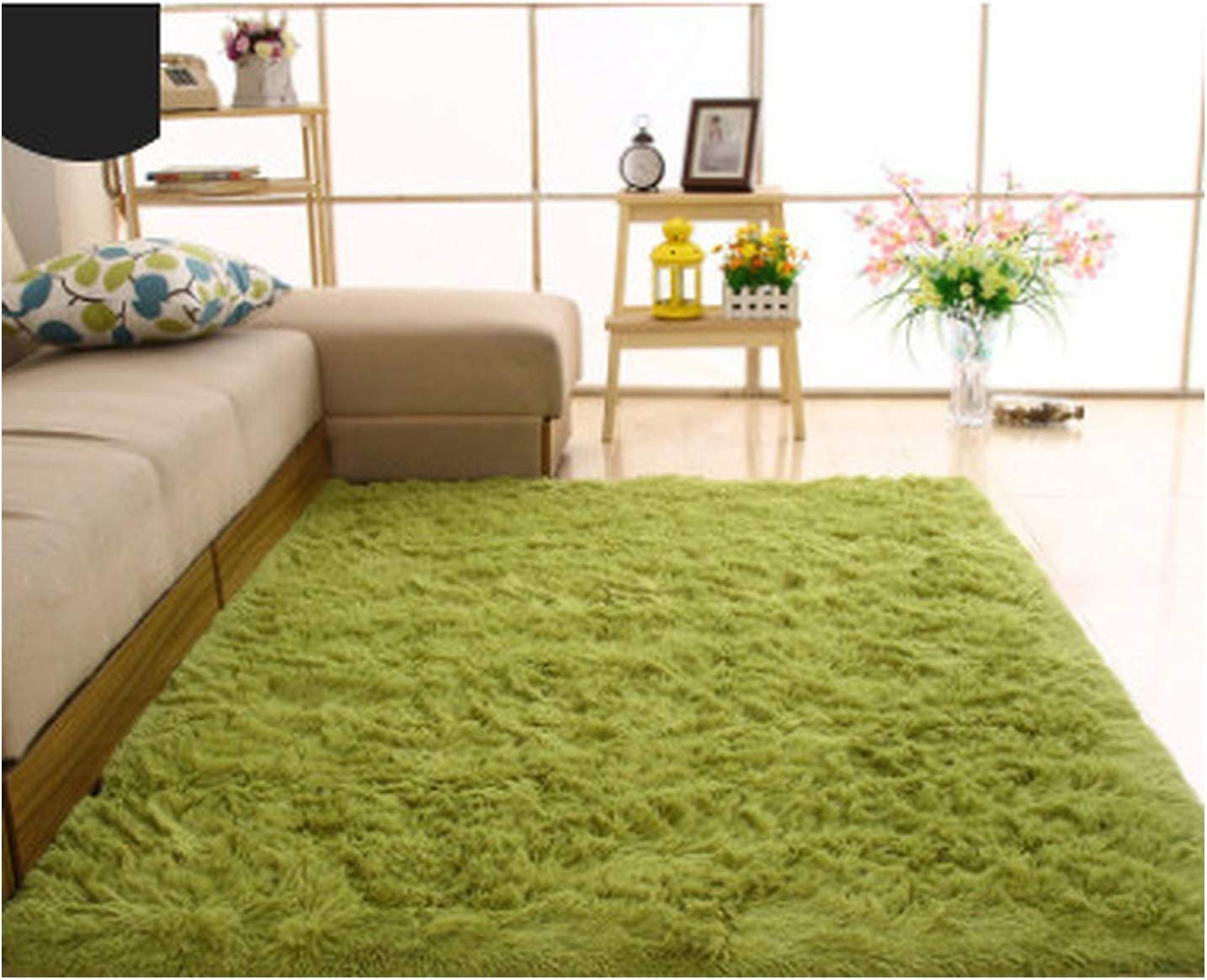 Plush Soft Shaggy Alfombras Carpet for Living Room Bedroom Warm Faux Fur Area Rug Non-Slip Mats for Home Decoration Supplies,Fruit Green,50cmx120cm