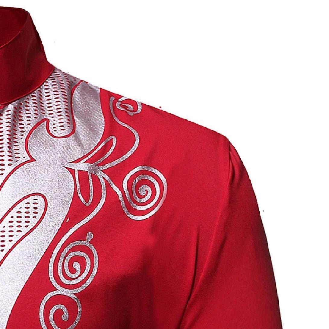 Zimaes-Men Dashiki Bronzing Long-Sleeve African Slim Fit Western Shirt