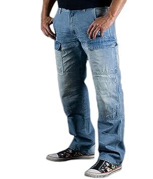 Juicy Trendz Hombre Motocicleta Pantalones Moto Pantalón Mezclilla Jeans Con Protección Aramida Azul W36-L34