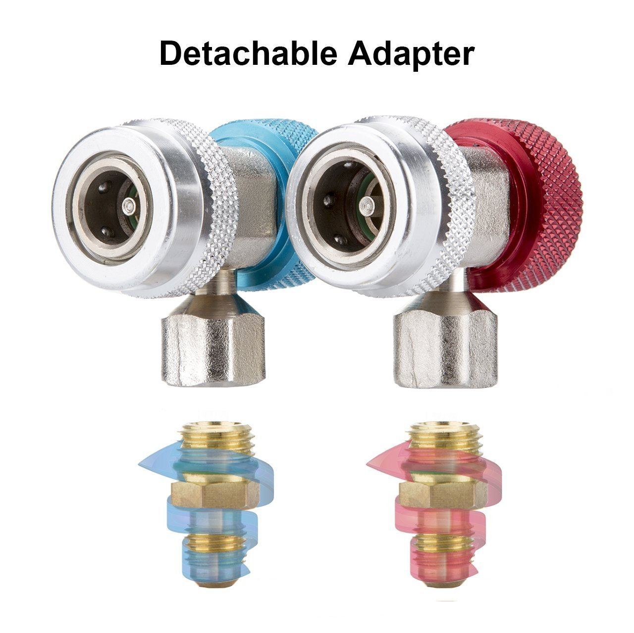 Adjustable R134A Adapter Fittings Quick Coupler High Low AC Freon Manifold Gauge Hose Conversion kit 1/4'' SAE HVAC,Air Conditioning Line Repair Tools