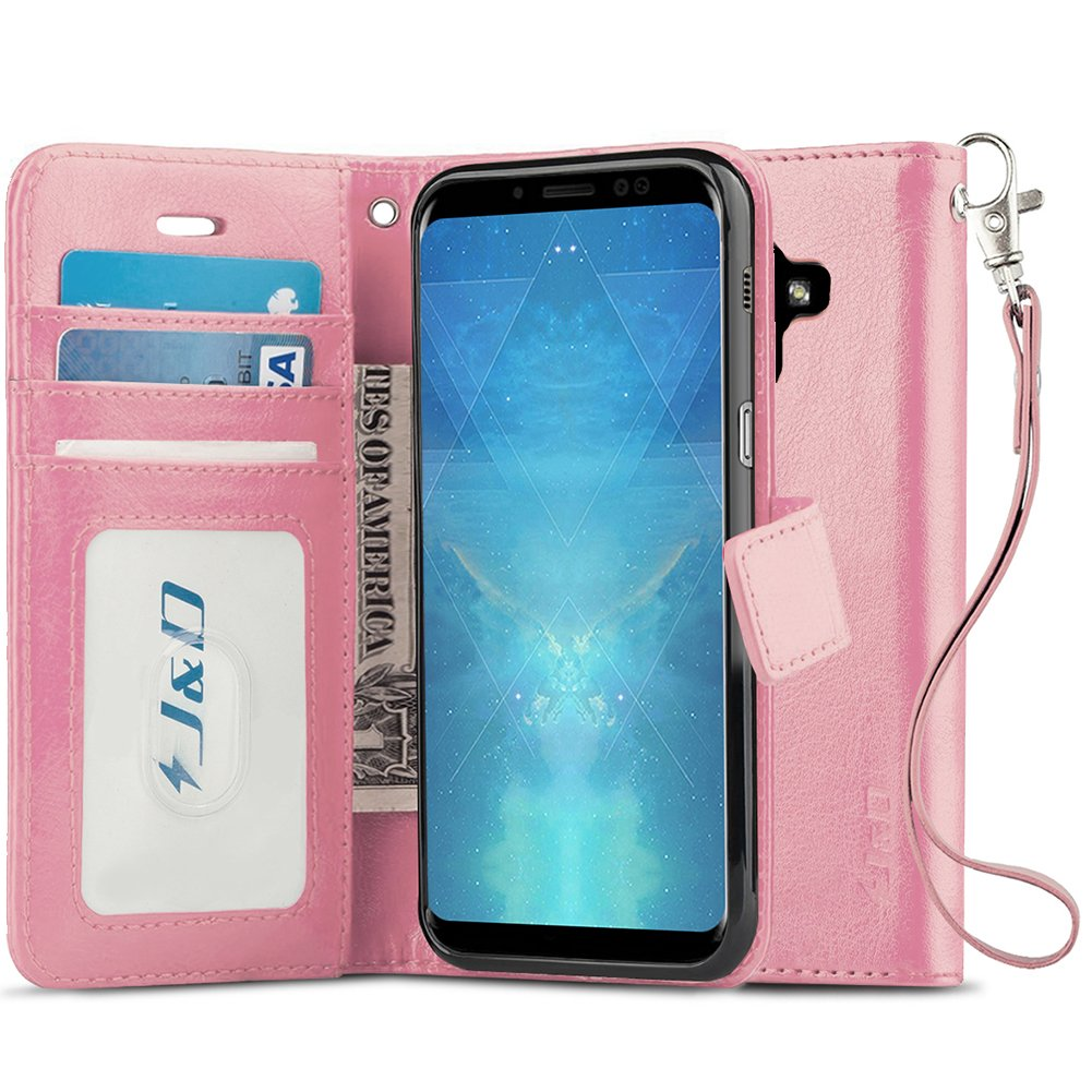 J&D Galaxy A8 2018 Case, [Wallet Stand] [Slim Fit] Heavy Duty Protective Shock Resistant Flip Cover Wallet Case for Samsung Galaxy A8 (Release in 2018) - [Not for Galaxy A8 Plus / A8+ 2018]