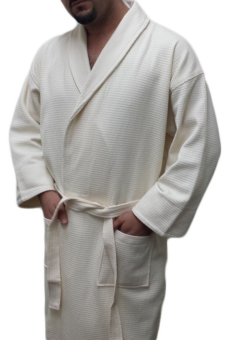 Waffle Robe with Diamond Shawl Collar Women's and Men's 100% Cotton (Beige,XXL)