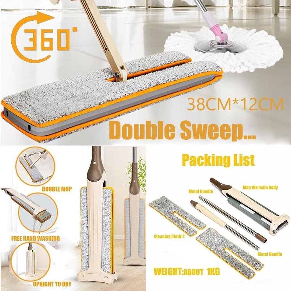 FTXJ Double-Side Dry and Wet Flat Mop Hands-Free Washable Home Floor Cleaner (Mop) by FTXJ (Image #2)