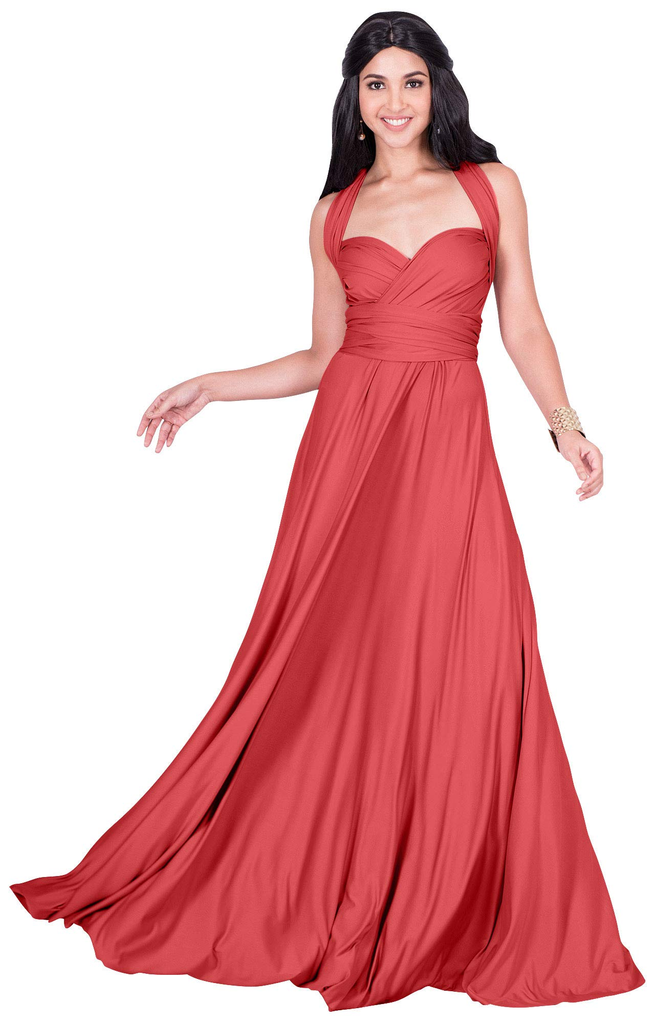 KOH KOH Plus Size Womens Long Bridesmaid Multi-Way Wedding ...
