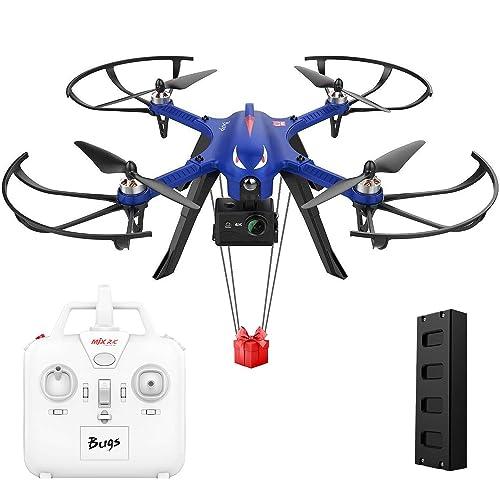 DROCON Bugs 3 motor Quadcopter sin escobillas Drone Drone de alta velocidad para adultos y aficionados Support Gopro HD Cámara 4K 18 minutos de vuelo 300 metros Control de largo alcance Azul